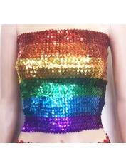 Rainbow Sequin Tube Top - Mardi Gras Costumes