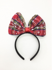 Christmas Tartan Bow on Headband