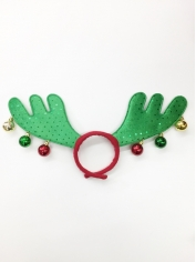 Green Reindeer with Bells - Christmas Headbands