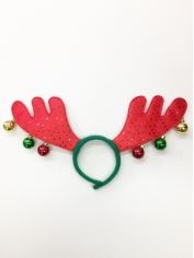 Red Reindeer with Bells - Christmas Headbands