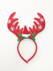 Red Sequin Reindeer Headband With Mini Santa Hat