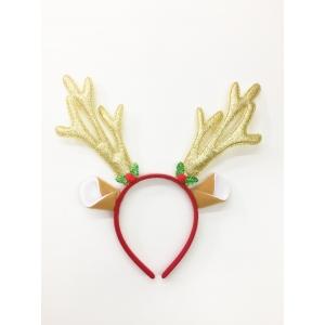 Gold Glitter Reindeer Headband