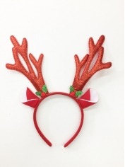 Red Glitter Reindeer Headband
