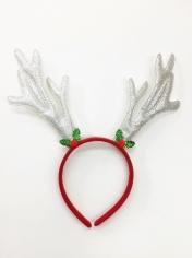 Silver Glitter Reindeer Headband