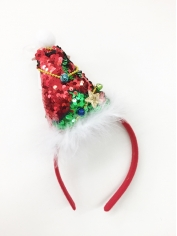 Mini Sequin Santa Hat on Headband - Christmas Headbands