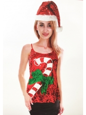 Christmas Cane Sequin Singlet - Christmas Costumes