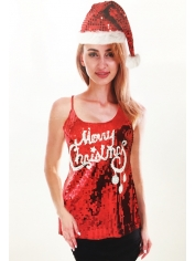 Merry Christmas Sequin Singlet - Christmas Costumes