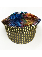 Rainbow Sequin Cap - Mardi Gras Hats