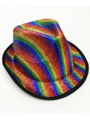 Rainbow Sparkly Fedora - Mardi Gras Hats