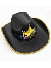Cowboy Hat with Rainbow Sequin Band - Mardi Gras Hats
