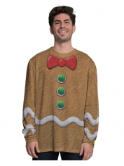Gingerbread Man Long Sleeve Top - Adult Christmas Costumes