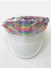 Rainbow Sequin Cap - Mardi Gras Hats