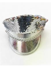 Silver Flip Sequin Hat - Mardi Gras Hats
