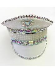 Deluxe White Flip Sequin Hat - Mardi Gras Hats