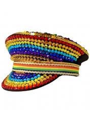 Rainbow Rhinestones Flip Hat - Mardi Gras Hats
