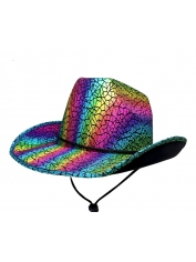 Metallic Rainbow Cowboy Hat - Mardi Gras Hats