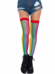 Rainbow Fishnet Thigh High Stocking - Leg Avenue