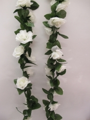 Artificial Rose Flower Vine - White