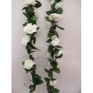 Artificial Rose Flower Vine - White