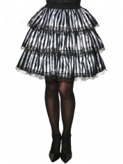 Striped Black White Ruffle Tutu Skirt