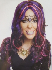Ladies Witch Frantique Black Pink Purple Wig