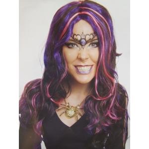 Ladies Witch Frantique Black Pink Purple Wig