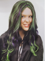 Ladies Witch Frantique Green Purple Wig