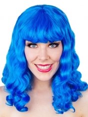 Long Blue Curly Wig