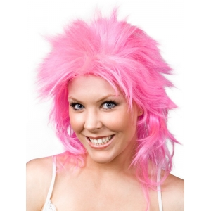 Ladies Hot Pink Mullet Wig