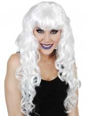 Long White Curly Halloween Wig