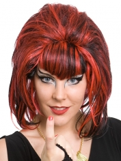 Samantha Black/Red Short Beehive Wig
