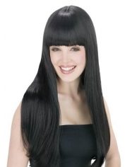 Long Black Wig with Fringe