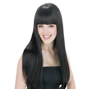 Long Black Wig with Fringe
