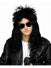 80's Black head banger Wig