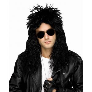 80's Black head banger Wig