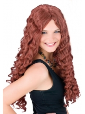Wine Red Curly Wig