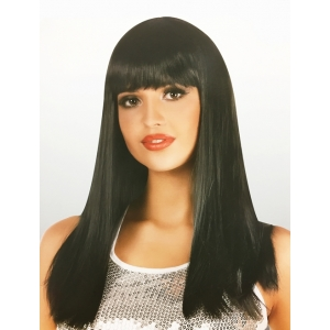Long Black Wig with Fringe - Natural Look Wigs