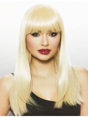 Long Blonde Wig with Fringe - Natural Look Wigs