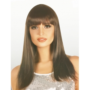 Long Brown Wig with Fringe - Natural Look Wigs