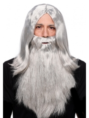 Long Grey Wig With Beards