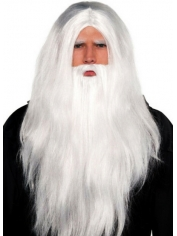 Long White Wizard Wig With Beards