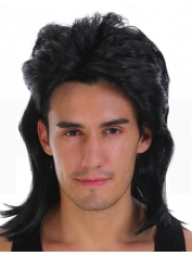 80's Mullet Black Wig
